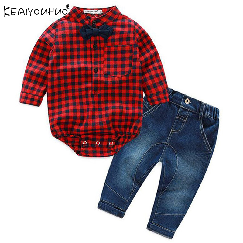 Winter Baby Boy Clothes Sets Gentleman Rompers+Jeans Suit Long Sleeve Infant Boys Clothing Sets Baby Clothes Christening Gowns 2017 nice boy baby infant formal gentleman baby boy clothes button necktie suit romper 0 24m long sleeve baby clothing sets