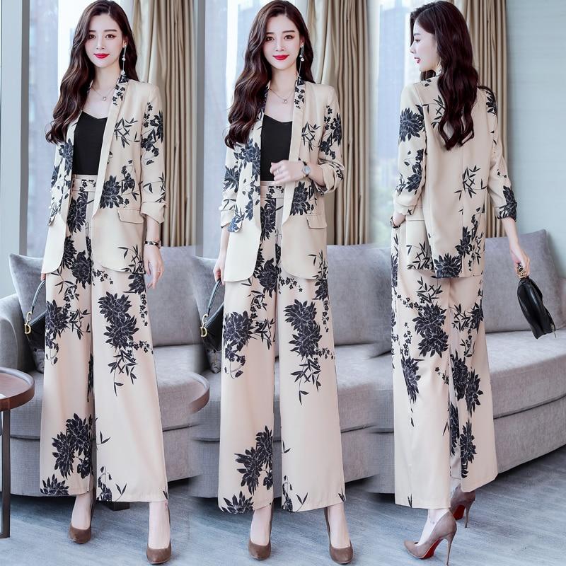 YASUGUOJI New 2019 Spring Fashion Floral Print Pants Suits Elegant Woman Wide-leg Trouser Suits Set 2 Pieces Pantsuit Women 3