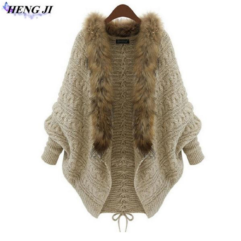 Women Oversized Faux Fur collar Poncho Cardigans Sweater Knitted Long Mujer Casual Women Autumn Winter Warm