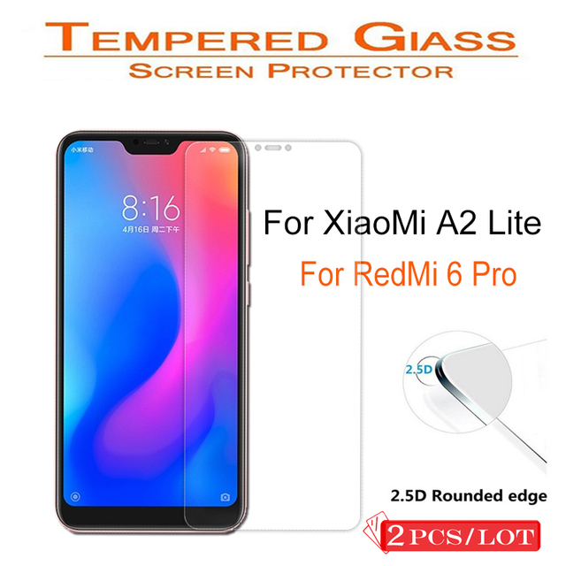 2PCS 2.5D For XiaoMi A2 Lite Tempered Glass Not full cover Screen Protector Clear Toughened Protective Film Case for RedMi 6 Pro