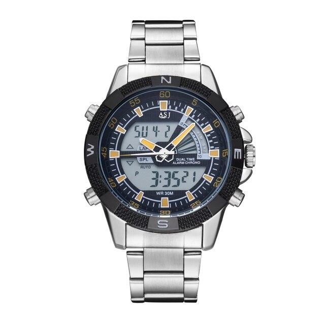 3a0e2c2dc87 AJS Novo Analógico Digital Relógios Homens Luxo Marca Movimento Japonês Aço  Inoxidável Dual Time Zoom Relógio
