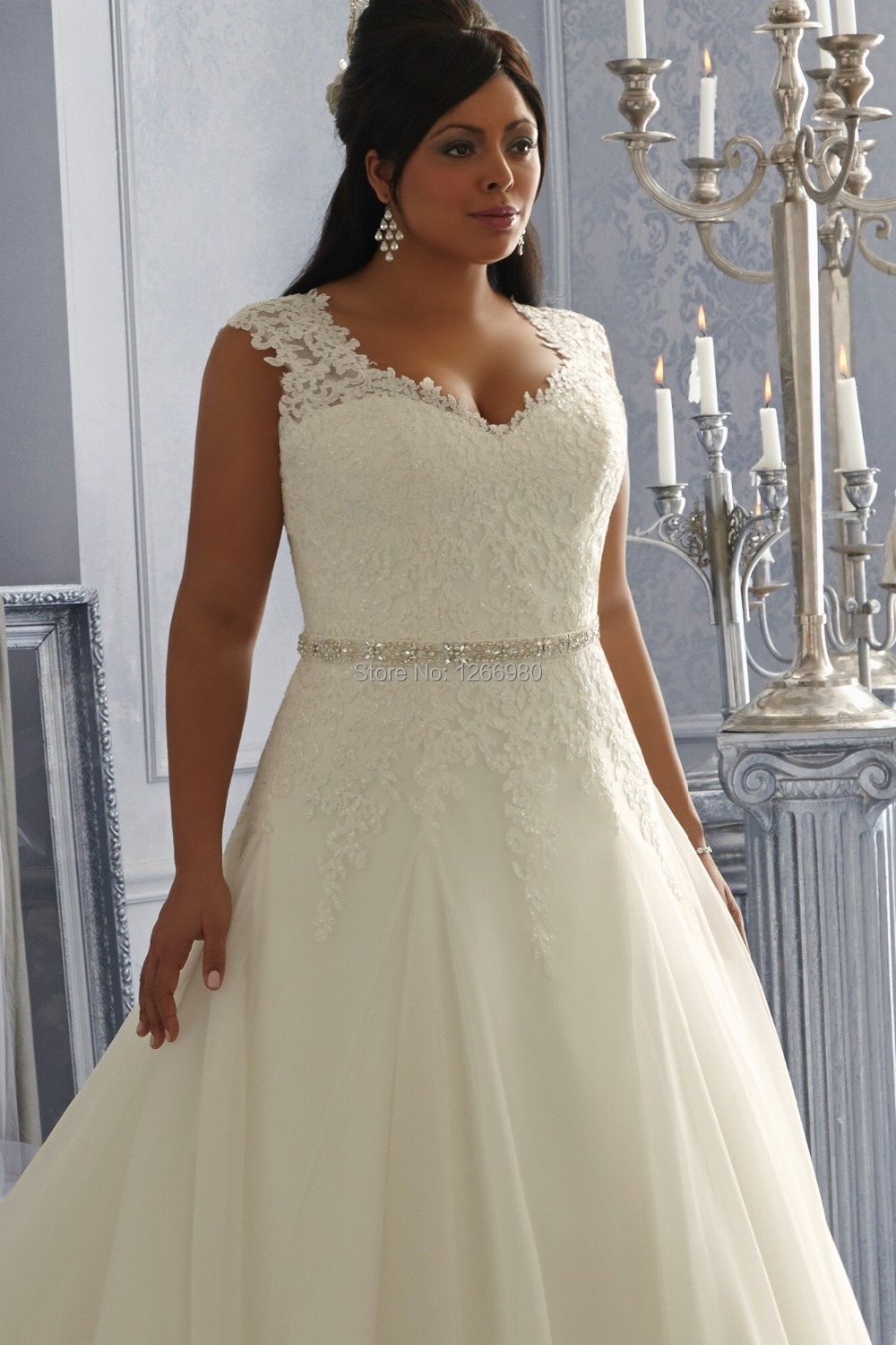 2014 Wedding Gowns For Fat Bride A line Appliqued Beads Lace Straps ...