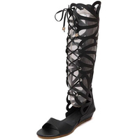 2016 Summer Sandals Strappy High Boots Help Cool Boots With The Flat Slope Toe Cut Rome