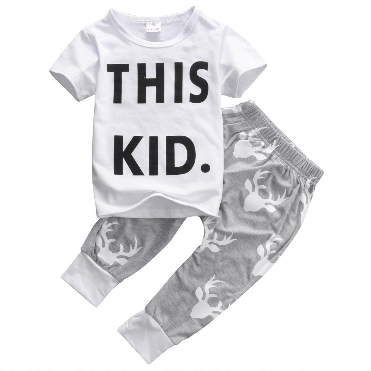 Для маленьких мальчиков Детский праздник Повседневное короткий рукав Футболка + Брюки для девочек наряды 2 шт. Милая летняя удобная одежда к...