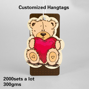 2000sets per lot 300gsm paper Customized Garment and Bags Shoes hang tags with hang rope DIY your own logo and size shape
