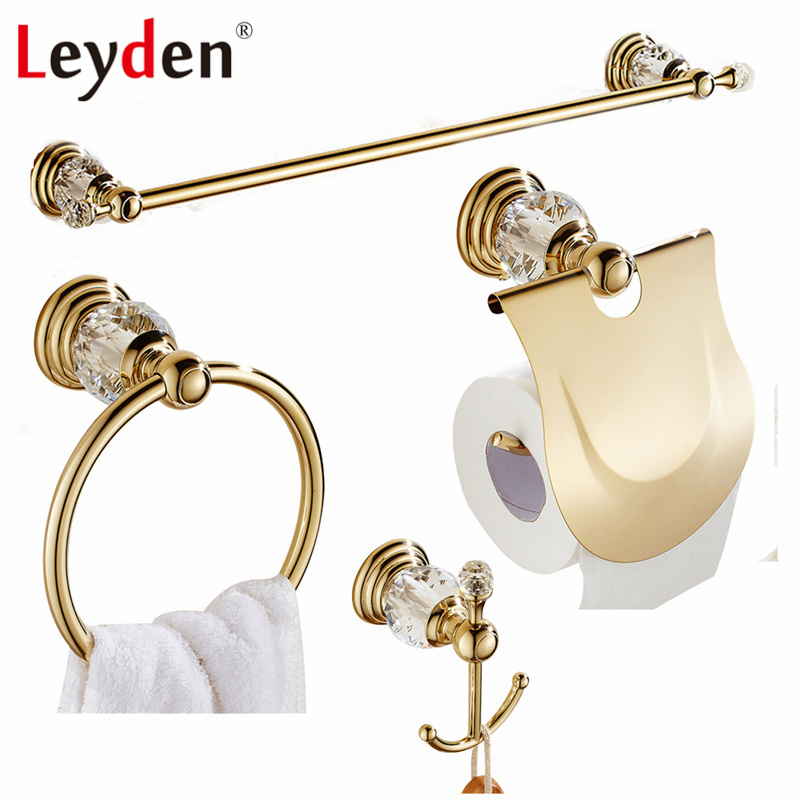 Leyden Luxury Crystal Gold Finish Towel Bar Clothes Hook Toilet Paper Holder Towel Ring Wall Mounted Bathroom Accessories Set fully copper bathroom towel ring holder silver