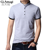 5xl T Shirt Male Short Sleeved Loose Version Summer Men S Tshirts Cotton Spandex Stand Neck