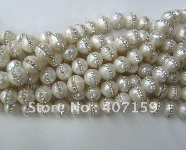 "7-8mm New Shine Fashion Pearl Pave Rhinestone Jewelry Loose Beads 15.5"" for Necklace Earrings Bracelet Wholesale Free Ship"