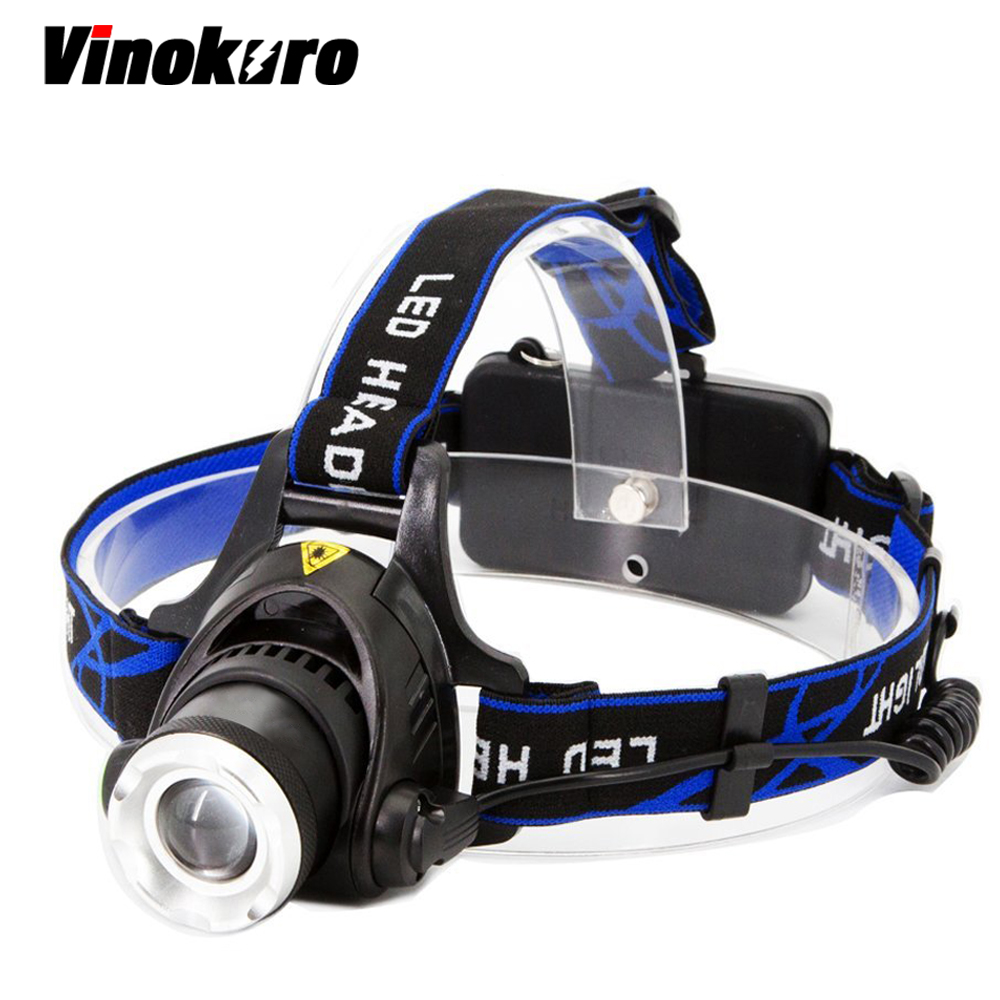 Vinokuro Led Headlamp 6000 lumen Cree XML-L2 XM-L T6 Zoomable Headlight Waterproof Head Torch flashlight Head lamp Hunting fenix hp25r 1000 lumen headlamp rechargeable led flashlight