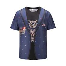 Newest men clothing 2019 fake two pieces owl tshirt women animal 3D print funny t shirts short sleeve round neck printing
