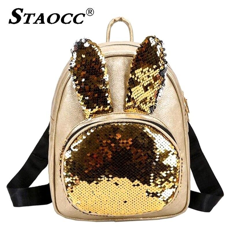 Fashion Sequins Backpack Women Small Leather Rabbit Ears Backpask School Bag For Teenage Girls Female Travel Shoulder Bag Plecak
