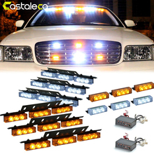 Castaleca Car Truck Police Strobe Lights Windshield Grille Emergency Warning LED Flashing Fog Lamp Motorcycle Dash light bulb mool yellow 18 led strobe dash emergency flashing warning light for car truck