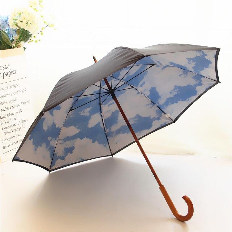Bleu ciel et blanc nuage bois manche long parapluie pluie femmes parasol parapluie mujer parapluie femmes paraplu haute qualité