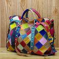 Genuine Sheepskin Leather Patchwork Bags Handbags Women Famous Brands Style European Punk Rivet Pillow Designer Large Handbags