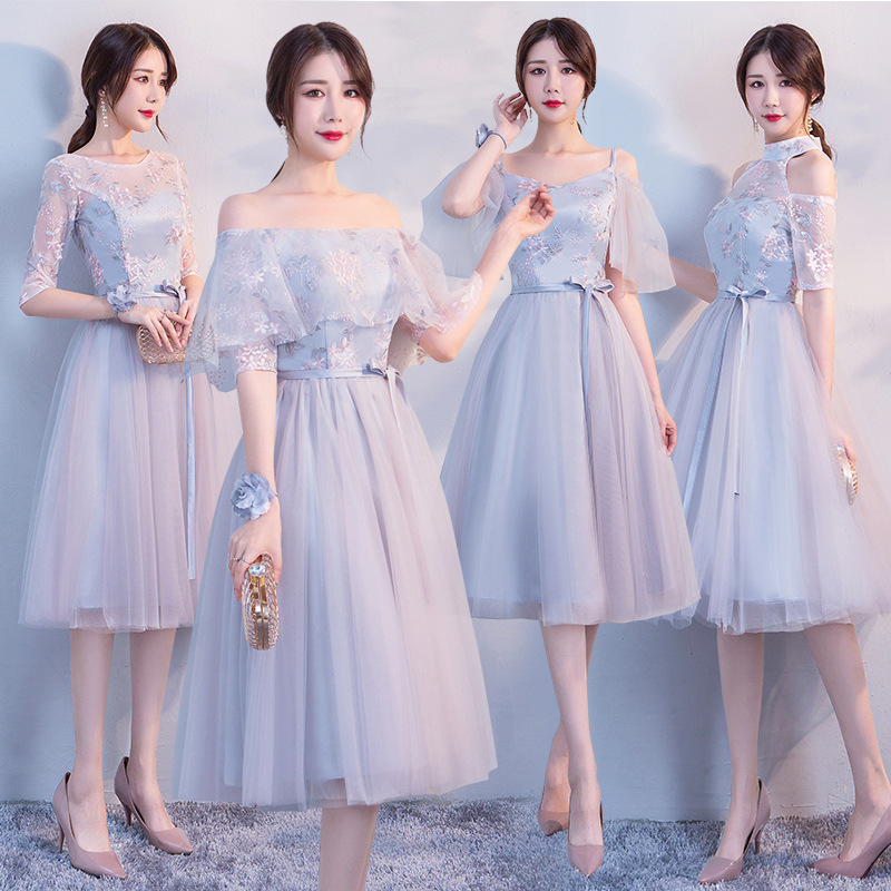 Grey   Bridesmaid     Dresses   Elegant A Line Formal Wedding Party   Dress   Prom Gown Vestido De Festa Flowers Robe Demoiselle D'honneur