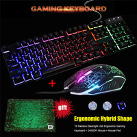 Проводной светодио дный мультимедиа с подсветкой Эргономичный Usb Gaming Keyboard Мышь Combo подсветкой оптическая Gamer Мышь комплекты + Мышь Pad
