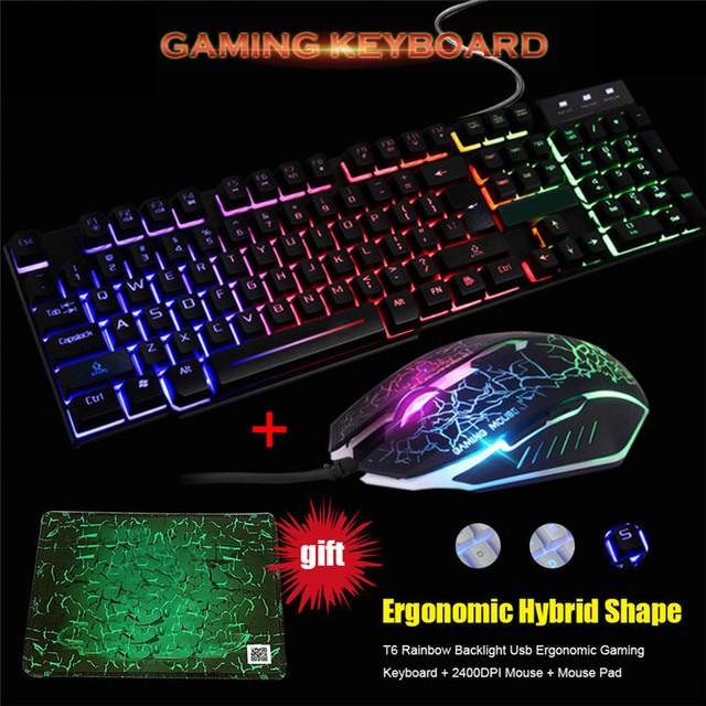 0c87ef8b437 Wired LED Backlit Multimedia Ergonomic Usb Gaming Keyboard Mouse Combo  Illuminated Optical Gamer Mouse Sets + Mouse Pad