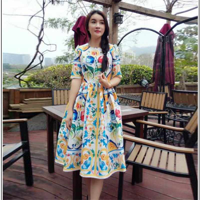 2018 Euramerican Spring New Fashion Blue And White Porcelain Pattern Print Elegant Lady High-End Slim Fit Ball Gown Dress