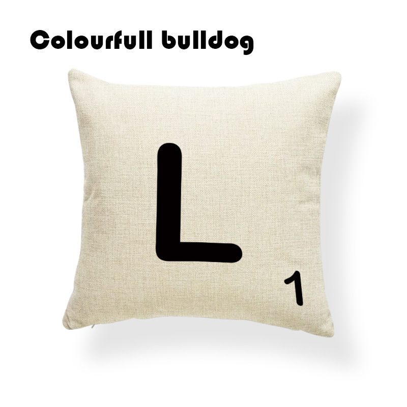Stylish Scrabble Black Letters & Numbers Cushion Covers Chakra Fundas Car Seat 18 Inch Linen Garden Decorations Fundas De Cojine