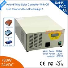 780 Вт 24 В Hybird Солнечный Ветер Инвертор 600 Вт Ветер + 180 Вт с Солнечной Чистая Синусоида инвертор 90% Эффективности
