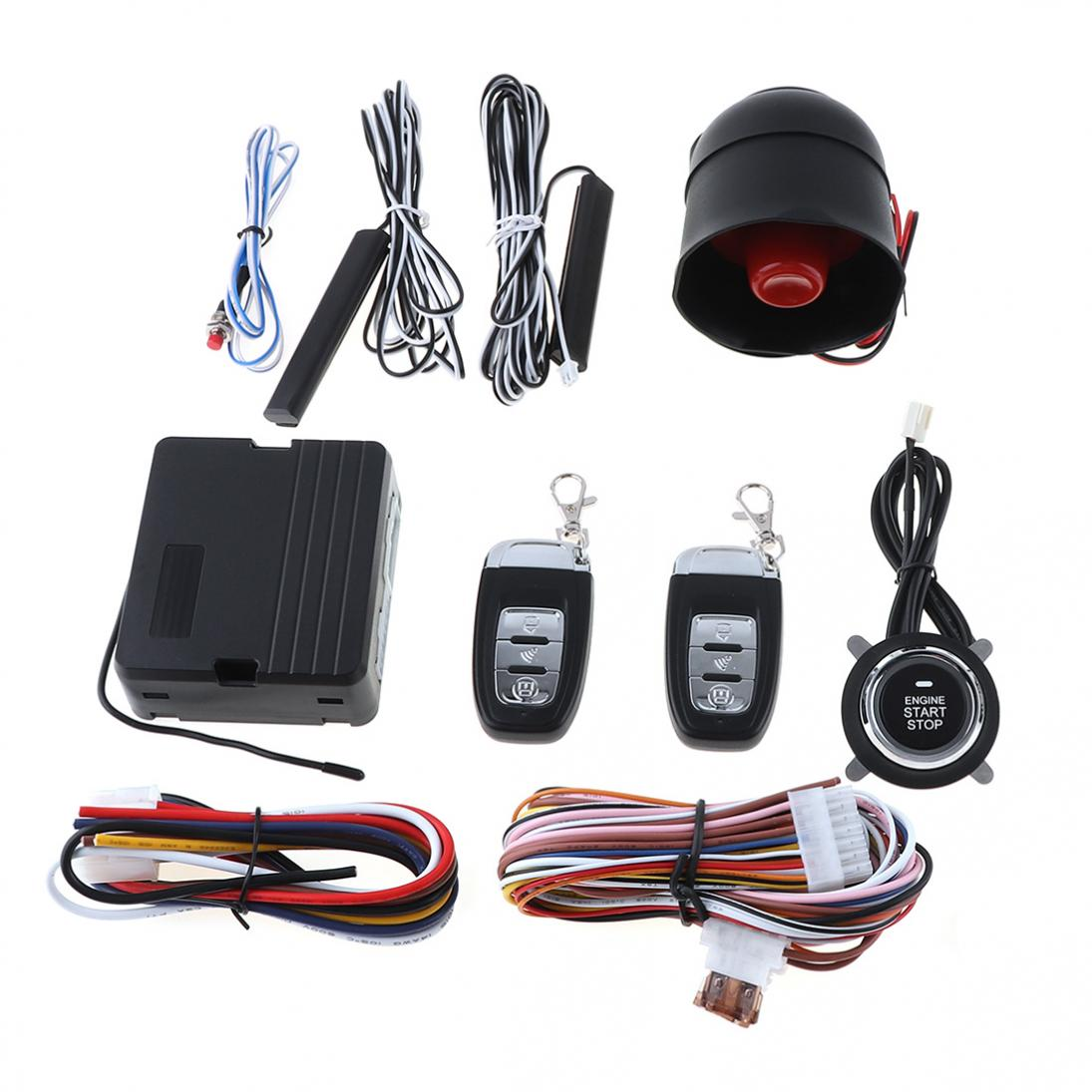 PKE Auto Car Alarm Start Stop Engine System RFID Central Lock Keyless Entry system Starter Anti-theft Engine Start Stop button car auto engine start stop button smart key alarm security keyless entry lock or unlock by passwords pke auto central lock car