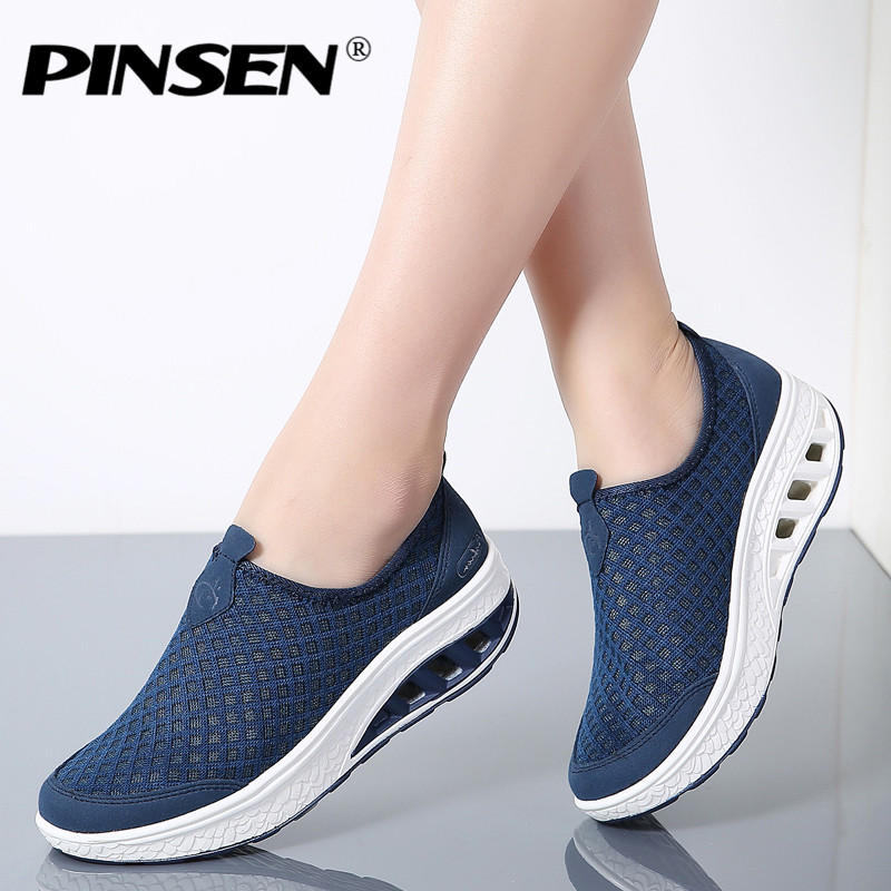 PINSEN 2018 Summer Platform Women Sneakers Shoes Slip On Moccasins Shoes Woman Thick Soled Ladies Shoes For Women Flats Creepers minika women shoes summer flats breathable lace loafers platform wedges lose weight creepers platform slip on shoes woman cd41