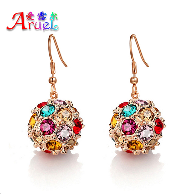 Aruel Fashion Earrings Higt Quality Rose Gold Colorful Crystal Cubic Zircon Jewelry Dorp For Women