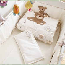 Discount! 7PCS Embroidered baby cot bedding sets cartoon little bear baby bedding sets ,include(bumper+duvet+sheet+pillow)