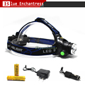 New A6 3000lumens 3-Mode Zoomable LED Headlamp CREE T6 Zoom Headlight+2*18650 5000 Mah  Battery+AC/Car Charger Free Shipping