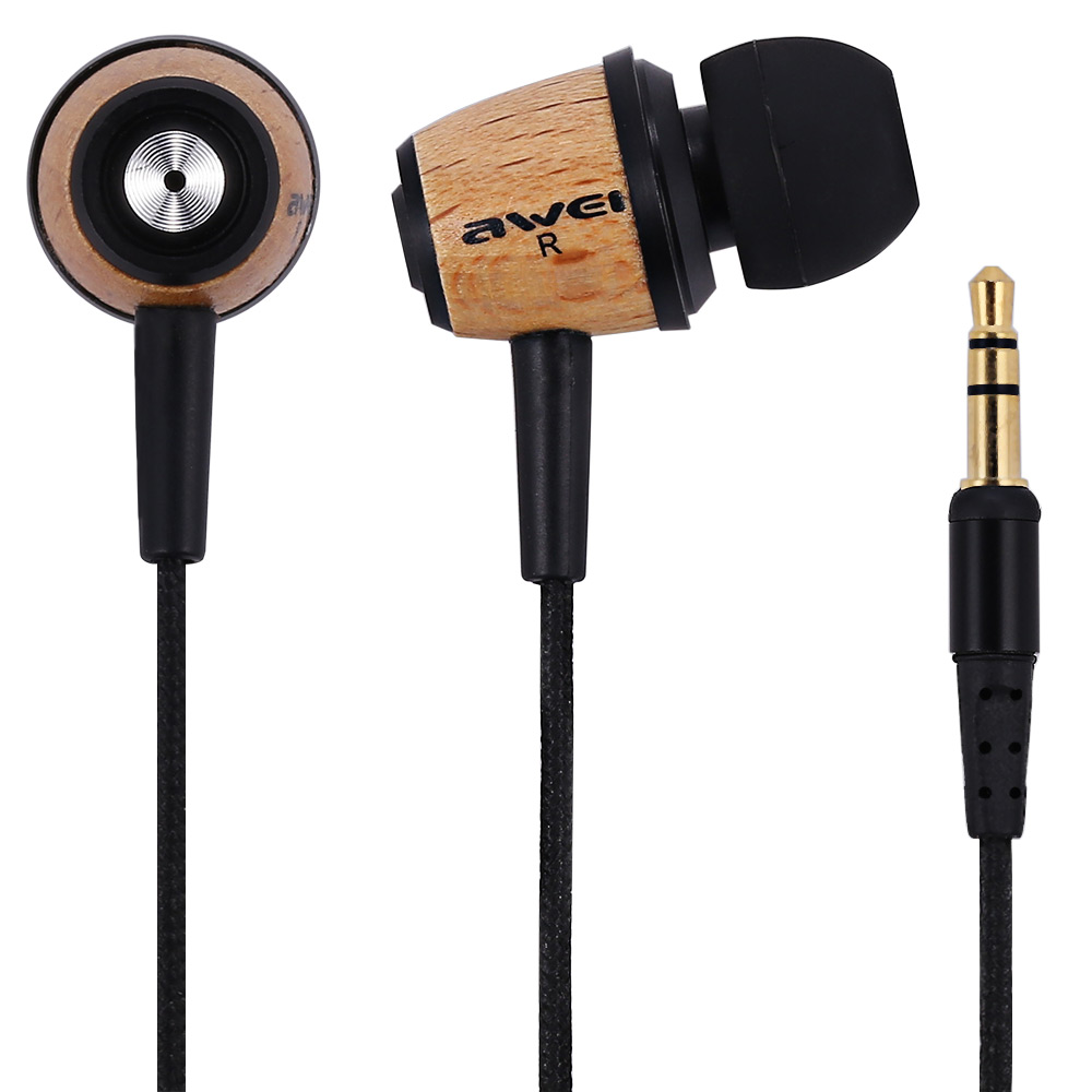 Awei ES-Q9 In-Ear Earphone Super Bass Wooden Earphone Gold-Plated Audio Jack Earpiece With 1.2m Cable For Smartphone Tablet PC