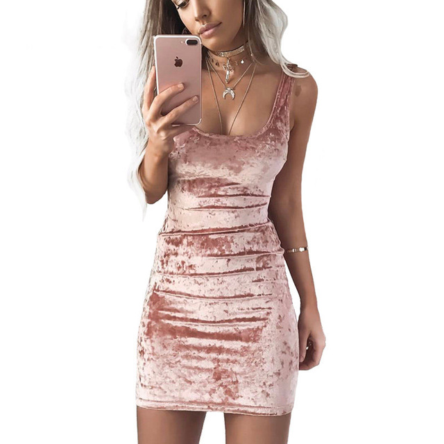 6413bfc0508f9 US $7.11 39% OFF|Spring Summer Velvet Vest Dress Sexy Women Square Collar  Backless Dress Sleeveless Pink Bodycon Casual Dresses-in Dresses from ...
