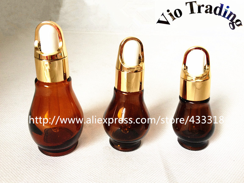 30ml brown glass essential oil bottles empty cosmetic sample containers aluminum dropper perfume vials skin care - Vio Trading specialize in bottle store