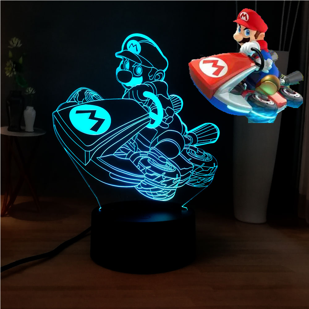 New Illusion 3D Lovely Mario Lamp Novelty USB Touch 7 Color Change LED Baby Sleep Bedside Night Light Kids Gift Free Shipping