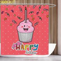Polyester Shower Curtain Birthday Decorations Pink Strawberry Cupcake with Candle Cute Face Confetti Bow Tie Dots Multicolor