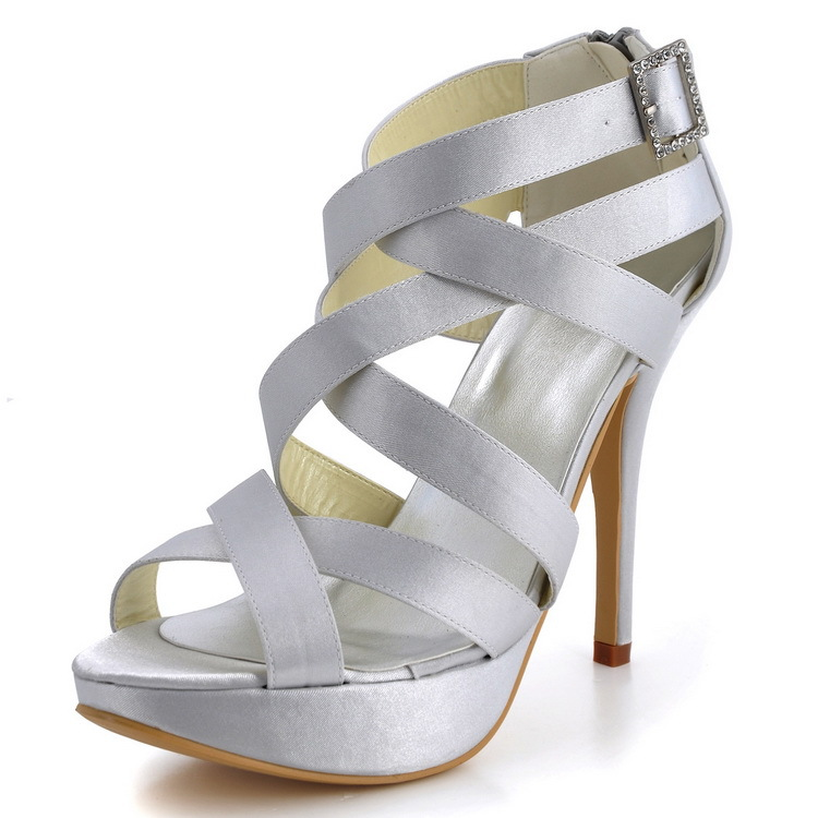 Women High Heel Platform Cross Strap Sandals Silver Satin Bride Party Prom Pumps Bridal Wedding Shoes EP11088-PF Ivory White Red