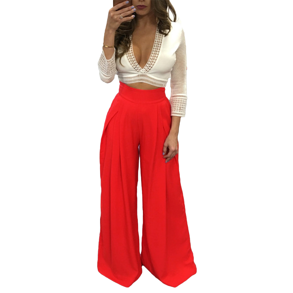 Women Harem Pants Solid Color High Waist Loose Wide Leg Pants Pockets Casual Palazzo Baggy Clubwear Trousers 2019 Pantalon Femme-in Pants & Capris from Women's Clothing