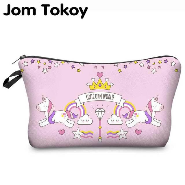 5553eccd1 Jom Tokoy 2018 3D unicornio impresión bolso cosmético moda mujer marca  maquillaje bolsa