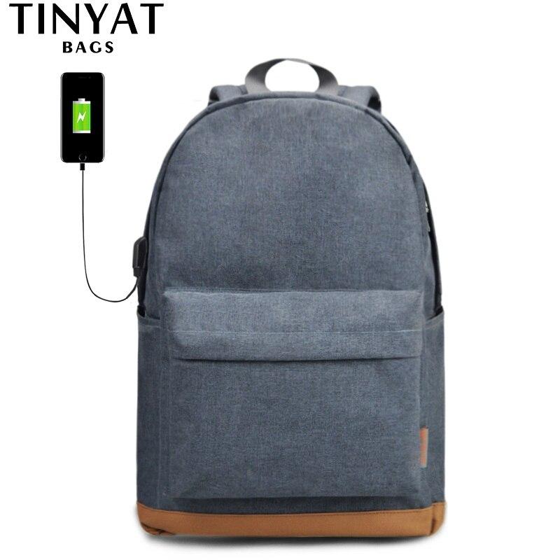 TINYAT hombres 15 pulgadas mochila portátil con USB macho escuela mochilas mochila ocio para adolescentes viaje mujeres thef Mochila