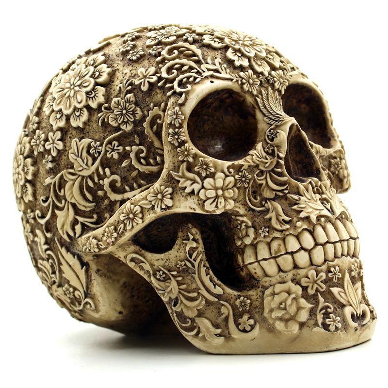 Halloween Home Bar Table Grade Decorative Craft Human Skull Resin Mask Cluster Flower Human Skeleton Skull Decoration With Box