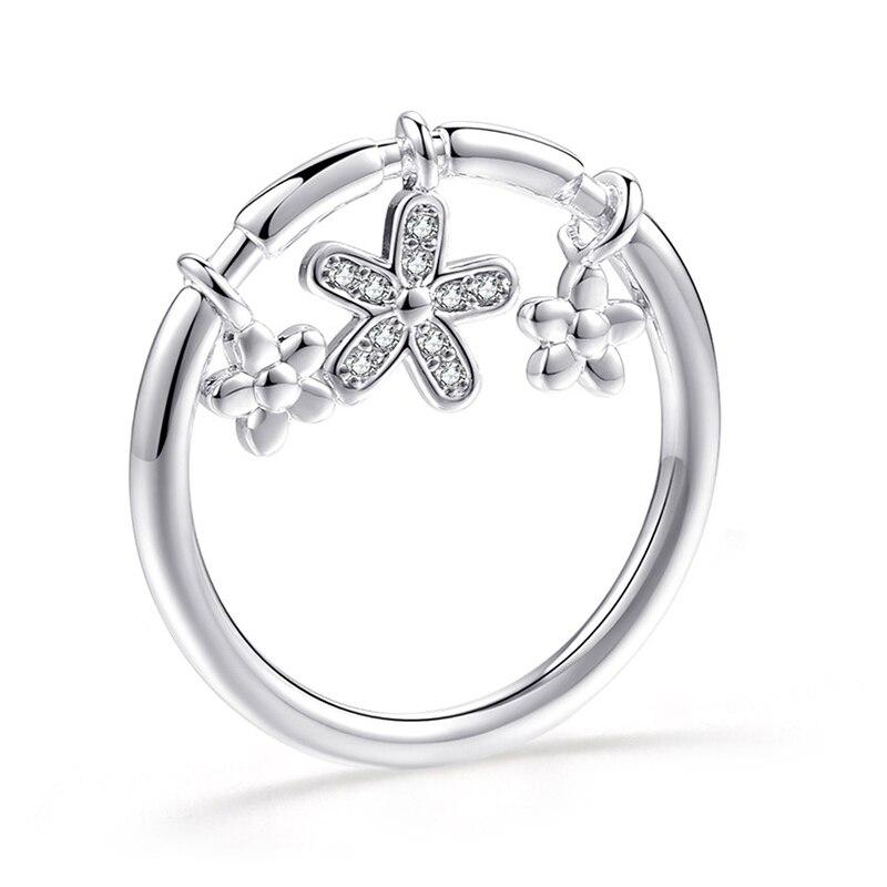 Модное Сверкающее циркониевое серебряное кольцо для женщин, цветочное сердце, корона, кольца на палец, фирменное кольцо, ювелирное изделие, Прямая поставка - Цвет основного камня: 41