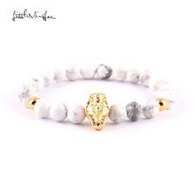 WML New Arrival pave CZ pharaoh Charm Bracelets women white stone bead Mummies bracelets & Bangles for Jewelry