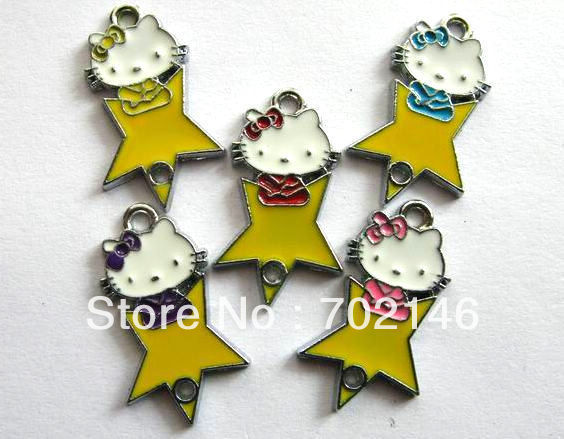 Star kitty  Hang Pendant Charm 100pcs