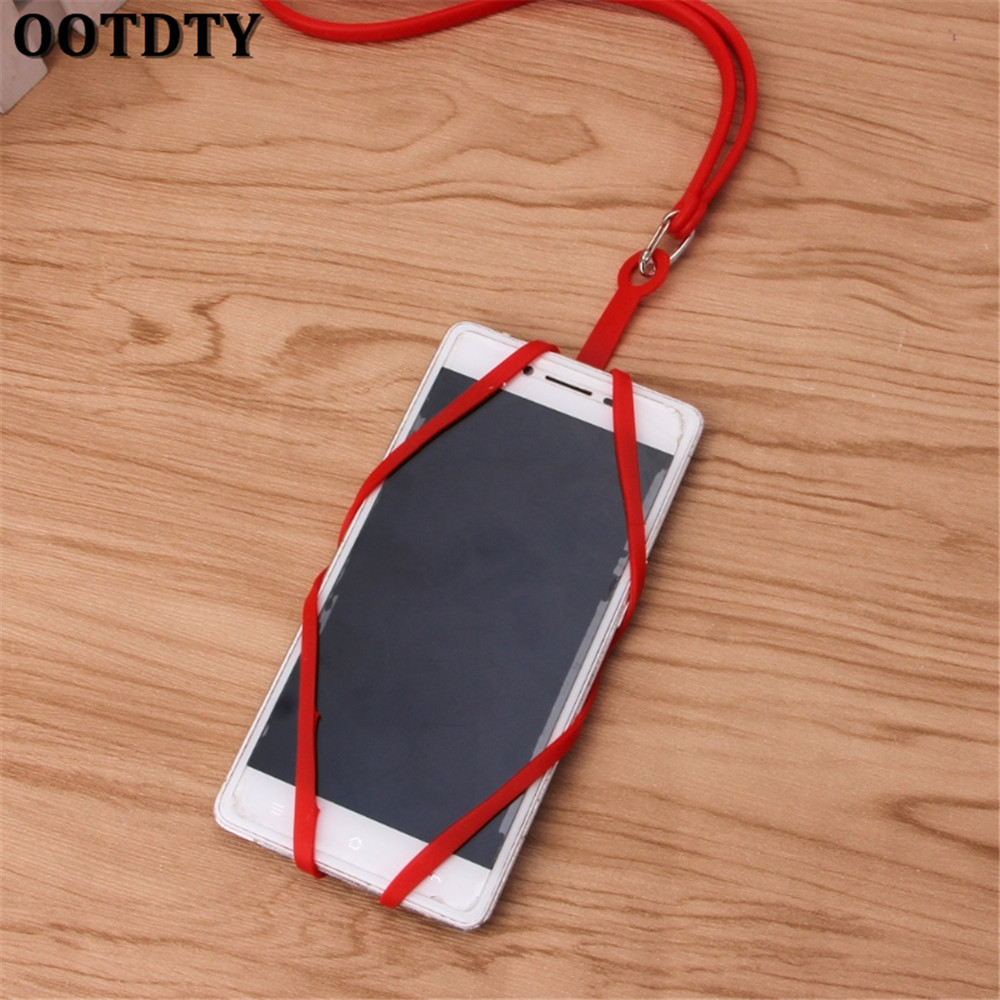 OOTDTY Chain Lanyard Silicone phone Case For iphone X 5 6 7 8 xiaomi mi6 mi5 mate10 htc1 ...