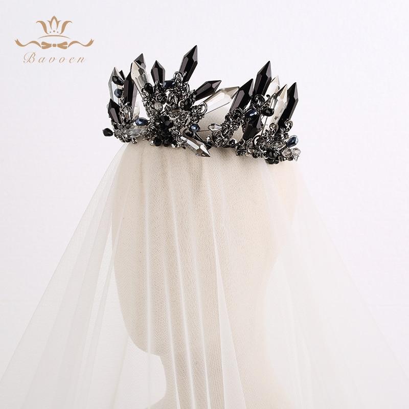 Handmade Luxurious Crowns Tiaras for Brides with Black Rhinestone - Fashion Jewelry - Photo 6