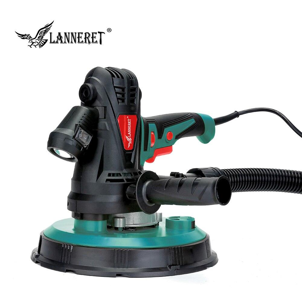 LANNERET 1280W 225mm 850W 180mm Dry Wall Sander Variable Speed Handheld Drywall Sander Sandpaper LED Light