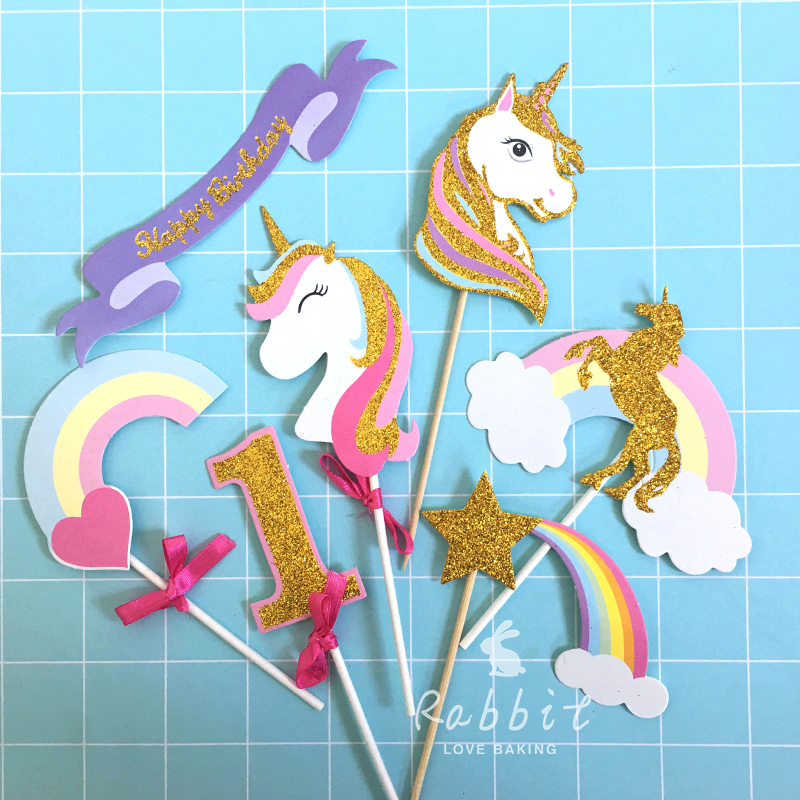 Online Shop 3 Sets Biling Gold Pink Purple Unicorn Rainbow Meteor Cloud Collection Cake Topper for Party Decoration Dessert lovely Gifts   Aliexpress Mobile