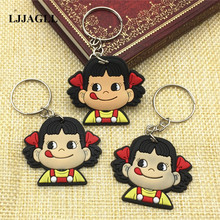 10pcs/lot Fujiya Co Peko Cartoon Trinket Key Chain Ring Kids Toy PVC Pendant Anime Figure Keychain Holder Charms ACT009
