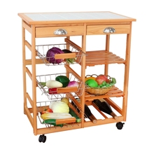 Best 26 x 14 6 x 30 Solid Nature Wood Kitchen Trolley Stainless Steel baskets With
