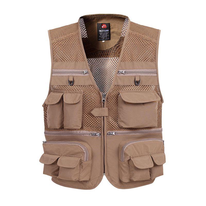 zozowang Men Summer Outdoors Tactical Mesh Vest Breathable Shooting Multi Pockets Waistcoat Sleeveless Jacket