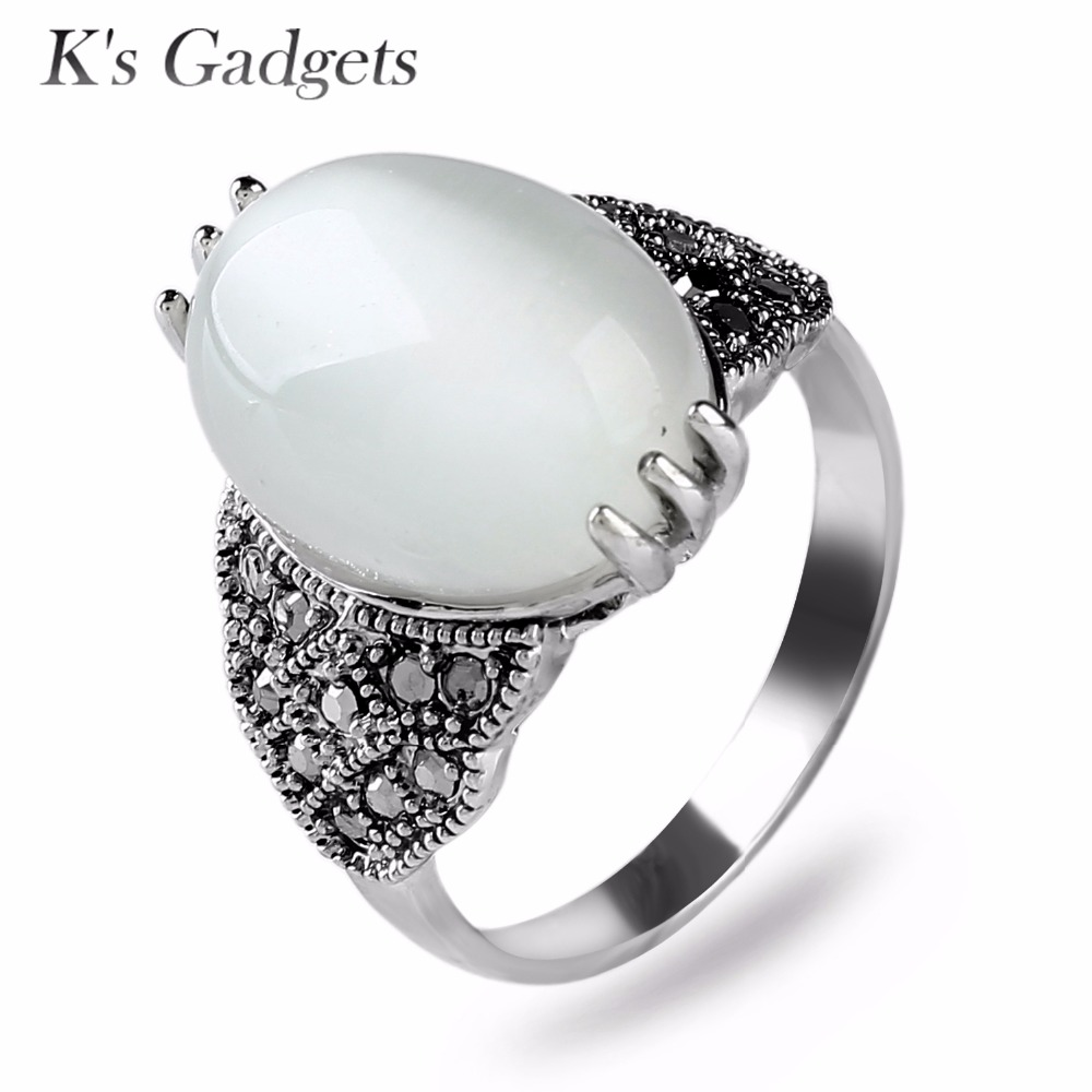 Classic White Opal Ring Jewelry For Women Silver Plated Antique Crystal Rhinestone Natural Stone Anillo Vintage Ring